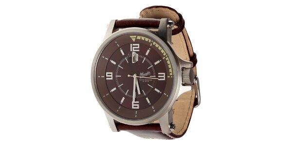 Pánské hnědé ocelové hodinky Memphis s hnědým koženým řemínkem