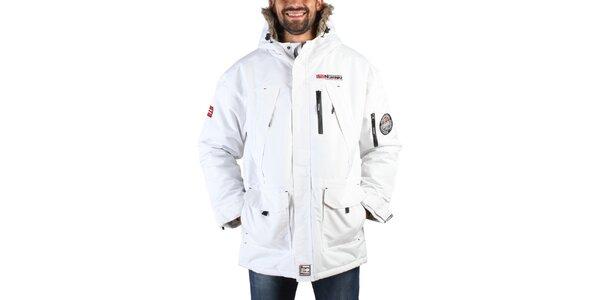 Pánská bílá zimní bunda s nášivkami Geographical Norway