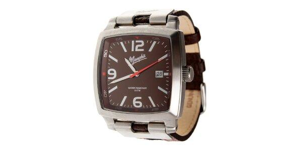 Pánské tmavě hnědé hodinky Memphis s hnědým koženým řemínkem