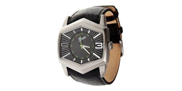 Pánské ocelové hodinky Memphis s černým koženým řemínkem