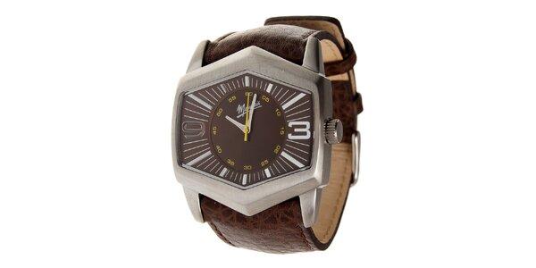 Pánské ocelové hodinky Memphis s hnědým koženým řemínkem