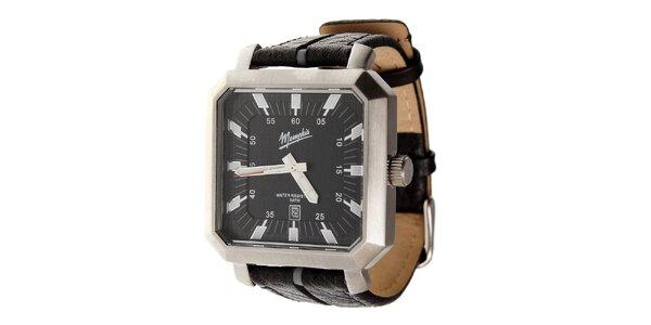 Pánské černé hodinky Memphis s černým koženým řemínkem