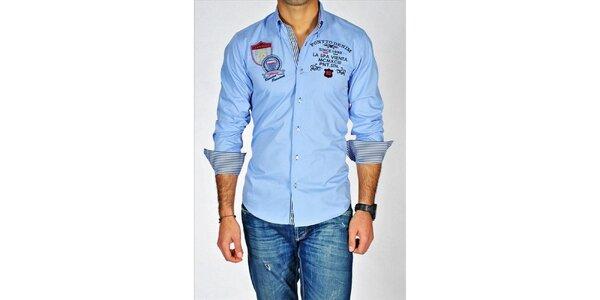 Pánská světle modrá trendy košile s výšivkami Pontto