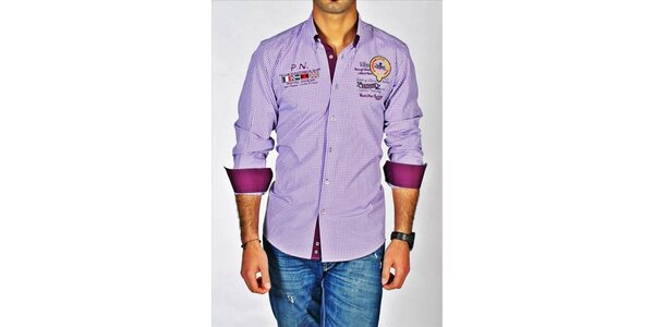 Pánská fialová kostkovaná košile z dílny Pontto