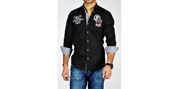 Pánská černá košile s nášivkami Pontto