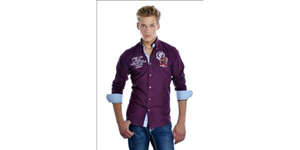 Pánská fialová sportovní košile Pontto