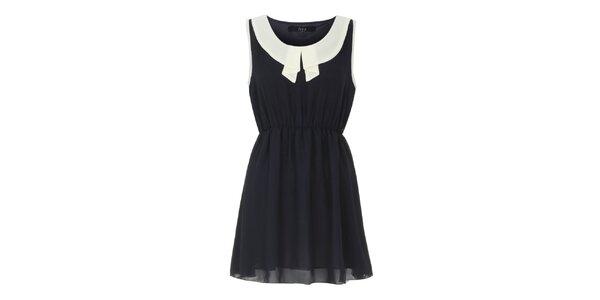 Dámské černé šaty se světlým límečkem Iska