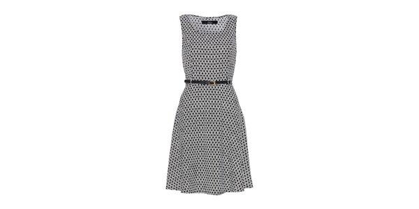 Dámské černobílé šaty bez rukávů Iska