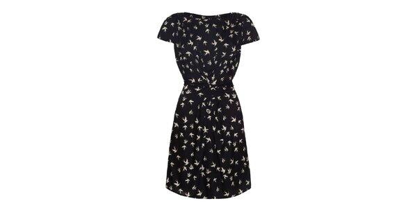 Dámské černé šaty s potiskem ptáčků Iska