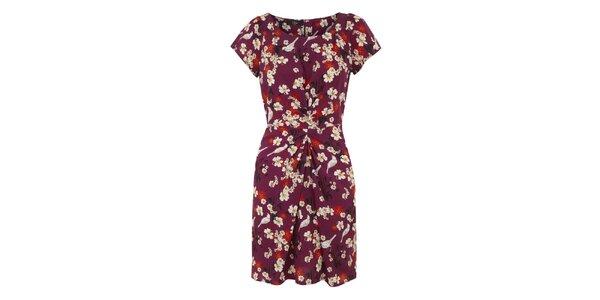 Dámské fuchsiové šaty s barevným vzorem Iska