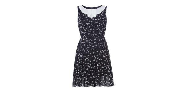 Dámské černé šaty s bílými motýlky Iska