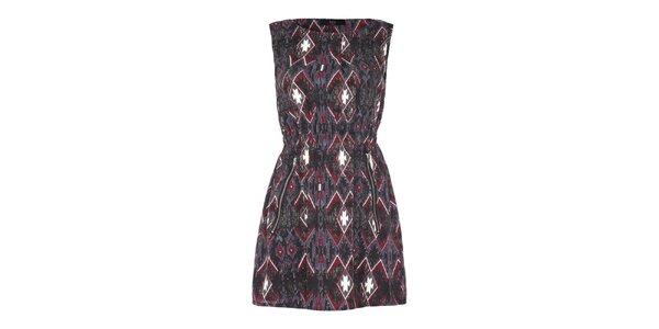 Dámské šaty s šedočerveným vzorem Iska