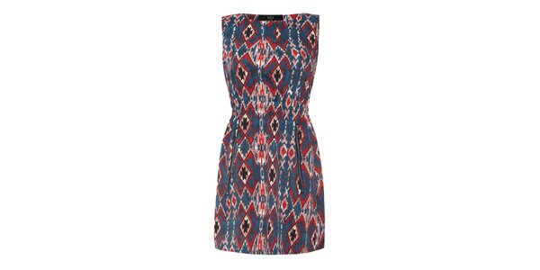Dámské šaty s červenomodrým vzorem Iska