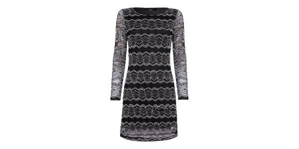 Dámské černé šaty s bílou krajkou Iska