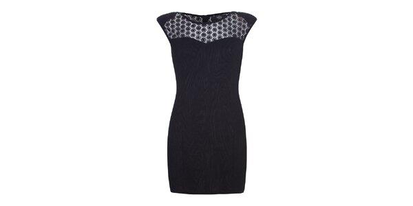 Dámské černé šaty s krajkovými rameny Iska