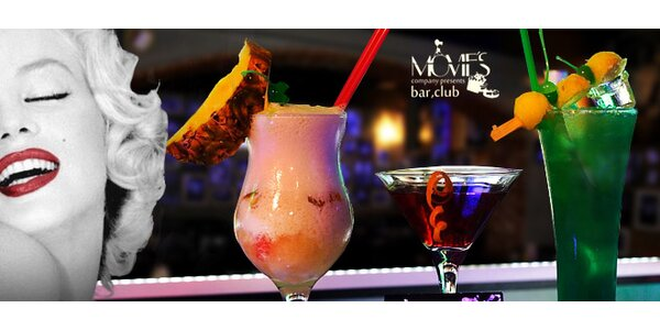 Alko i nealko nápoje v Movie's Club v hodnotě 500 Kč