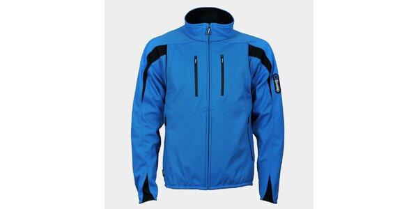 Pánská světle modrá softshellová bunda Sweep s černými detaily