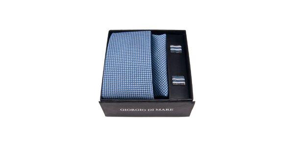 Pánská sada - modrobílé manžetové knoflíčky, kravata a kapesníček Giorgio di…