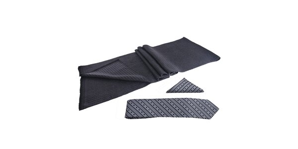 Pánská sada - šála, šedá kravata a kapesníček Giorgio di Mare