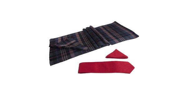 Pánská sada - kostkovaná šála, červená kravata a kapesníček Giorgio di Mare