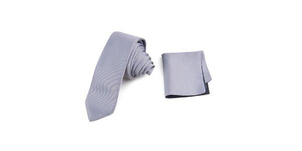 Pánská proužkovaná sada - kravata a kapesníček Giorgio di Mare