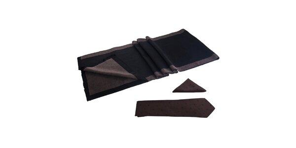 Pánská sada - šála, kravata a kapesníček Giorgio di Mare - hnědočerná
