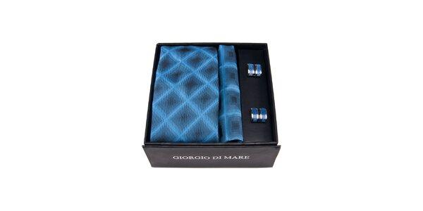 Pánská sada - manžetové knoflíčky, modrá kostkovaná kravata a kapesníček…