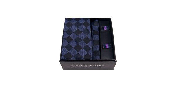 Pánská sada - fialovomodré manžetové knoflíčky, kravata a kapesníček Giorgio di…
