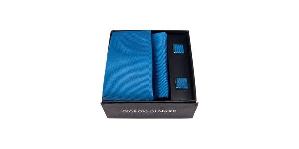 Pánská sada - modré manžetové knoflíčky, kravata a kapesníček Giorgio di Mare