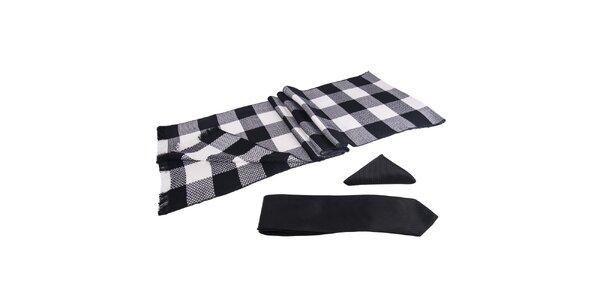 Pánská sada - černobíle kostkovaná šála, kravata a kapesníček Giorgio di Mare