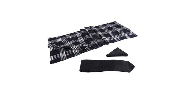 Pánská sada - černobílá šála, kravata a kapesníček Giorgio di Mare