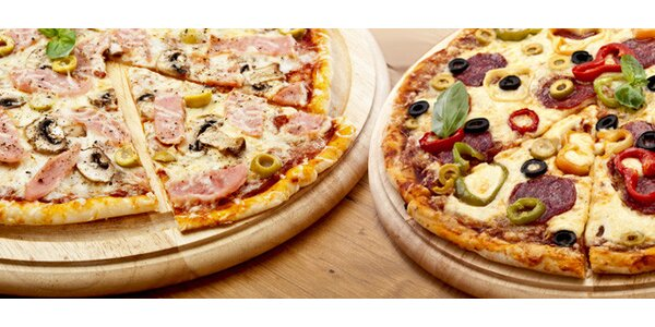 Dvě libovolné pizzy s možností dovozu, krabice v ceně