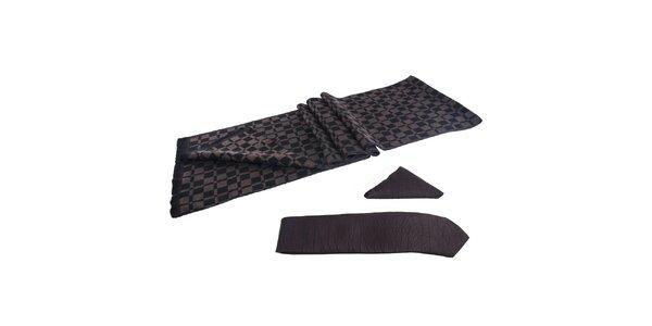 Pánská sada - černohnědá šála, kravata a kapesníček Giorgio di Mare