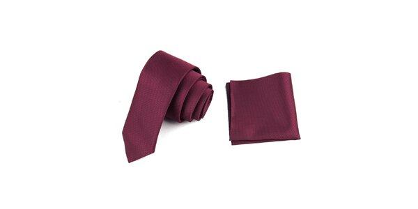 Pánská fuchsiová sada - kravata a kapesníček Giorgio di Mare