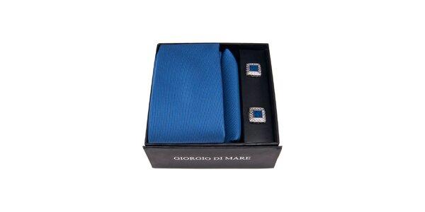 Pánská sada - modré čtvercové manžetové knoflíčky, kravata a kapesníček Giorgio…