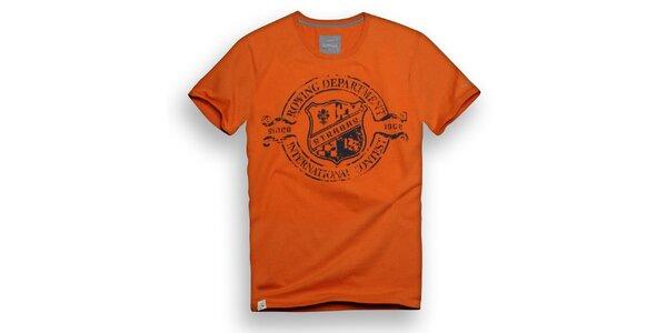 Pánské oranžové triko s veslařským potiskem Paul Stragas