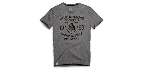 Pánské šedé bavlněné tričko s potiskem Paul Stragas
