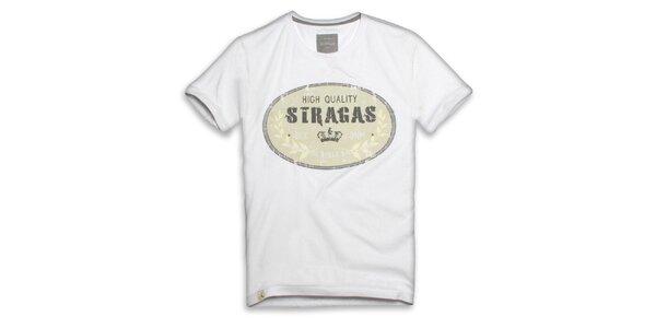 Pánské bílé triko s oválným potiskem Paul Stragas