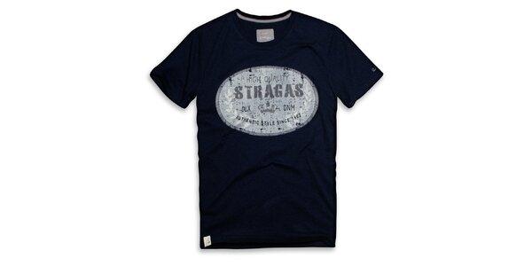 Pánské tmavě modré triko s oválným potiskem Paul Stragas