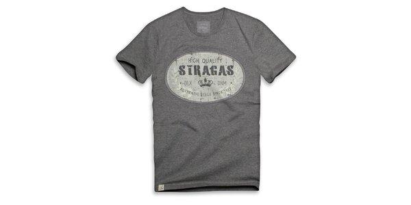 Pánské tmavě šedé triko s oválným potiskem Paul Stragas