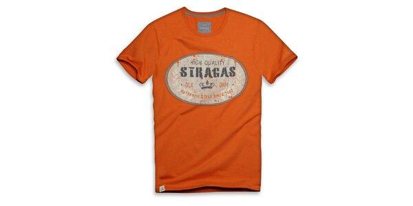 Pánské oranžové triko s oválným potiskem Paul Stragas