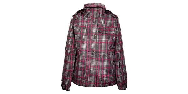 Dámská šedo-růžová zimní kostkovaná bunda Trimm Burda s membránou