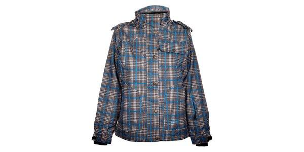 Dámská šedo-modrá zimní kostkovaná bunda Trimm Burda s membránou
