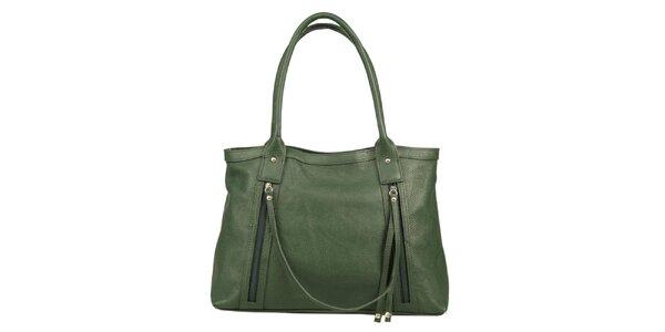 Dámská zelená kožená kabelka s ozdobným páskem Made in Italia