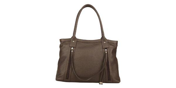 Dámská tmavohnědá kožená kabelka s ozdobným páskem Made in Italia