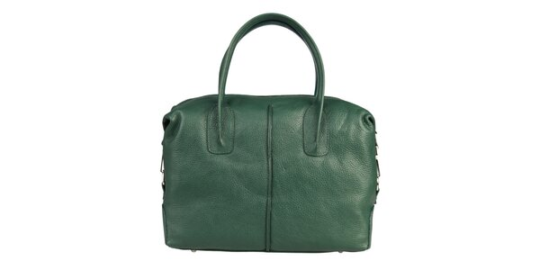 Dámská lahvově zelená kožená kabelka s karabinkou Made in Italia