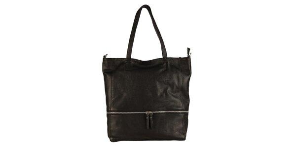 Dámská černá kožená kabelka se zipovým detailem Made in Italia