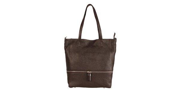 Dámská tmavě hnědá kožená kabelka se zipovým detailem Made in Italia