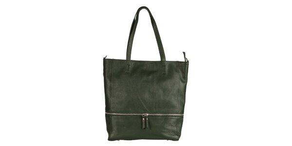 Dámská tmavě zelená kožená kabelka se zipovým detailem Made in Italia