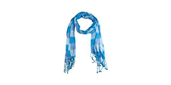 Dámský modrý kostkovaný šál s třásněmi Via Bellucci